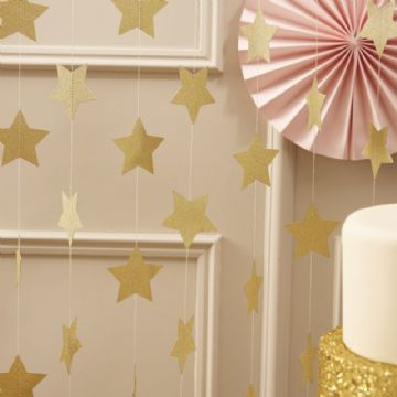 Gold Star Garland / Backdrop Wedding or Party Decoration